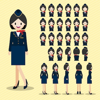 Cartoon character with beautiful air hostess, lady head set.