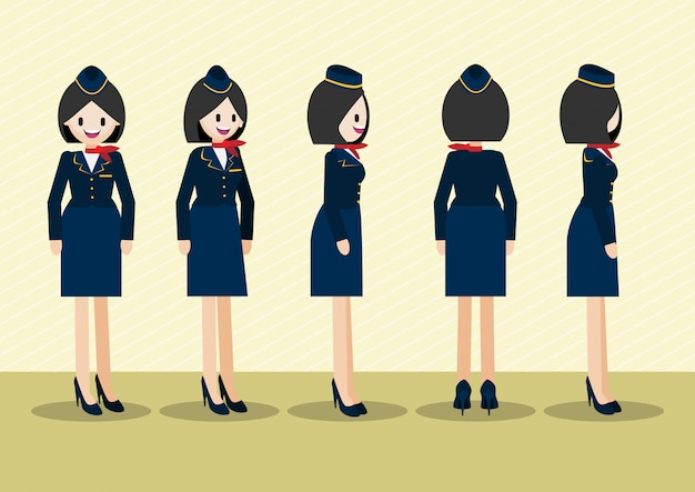 Cartoon character with beautiful air hostess in uniform for animation.