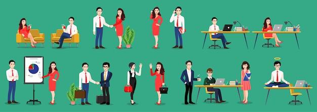 ビジネスの男性とビジネスの女性のポーズの漫画のキャラクターは、セットをポーズします。ビジネスの人々の作業、destに座って、緑色の背景、フラットアイコンベクトルでラップトップを使用して