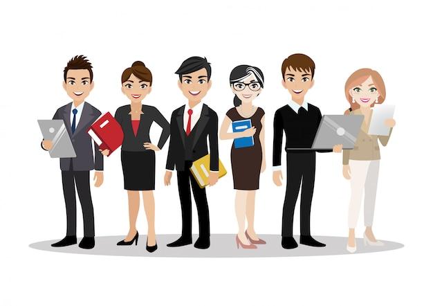 비즈니스 남자와 비즈니스 여자, 팀워크와 만화 캐릭터. 플랫.