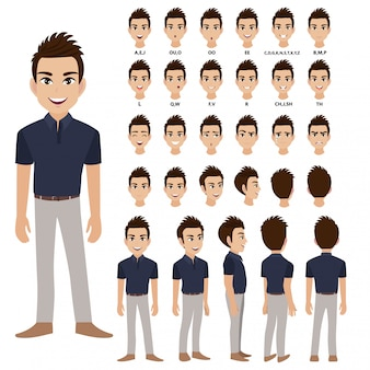 Мультипликационный персонаж с деловой человек в повседневной одежде для анимации.