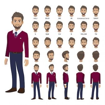 アニメーションの紫色のセーターシャツのビジネスマンと漫画のキャラクター。正面、側面、背面、3-4ビューのキャラクター。体の別々の部分。