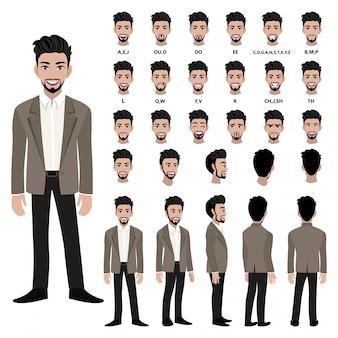 アニメーションのスーツのビジネスマンと漫画のキャラクター。