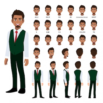 Cartoon character with business man in smart shirt and waistcoat for animation.