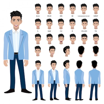 Cartoon character with business man in suit for animation. front, side, back, several view character. separate parts of body. flat vector illustration.
