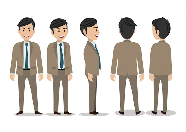 Cartoon character with business man in suit for animation