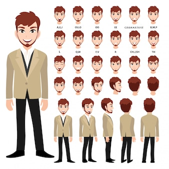 Cartoon character with business man in suit for animation.