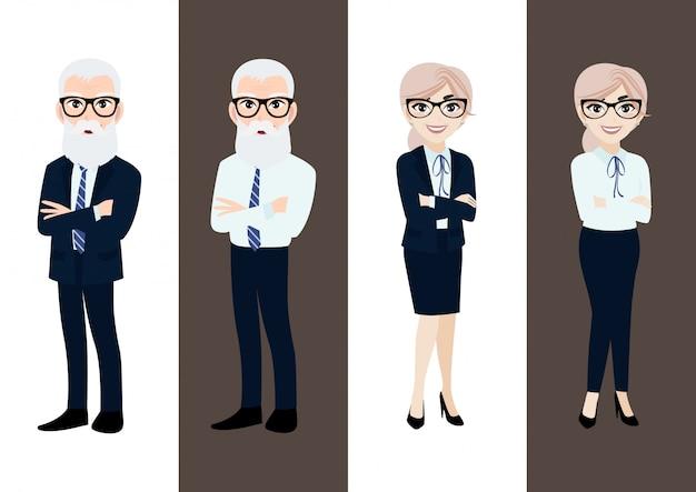 Мультипликационный персонаж с бизнес-стариком и бизнес-старушкой