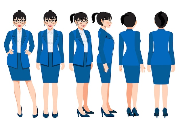Cartoon character with business woman in bright navy blue color suit for animation. front, side, back, 3-4 view character. flat vector illustration