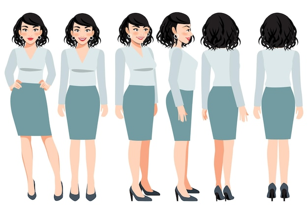 Cartoon character with business woman in green pastel color casual wear for animation. front, side, back, 3-4 view character. flat vector illustration