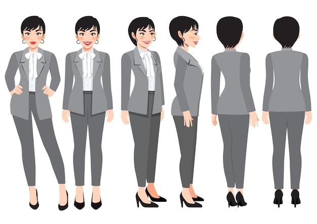 Cartoon character with business woman in grey smart suit for animation. front, side, back, 3-4 view character. flat vector illustration