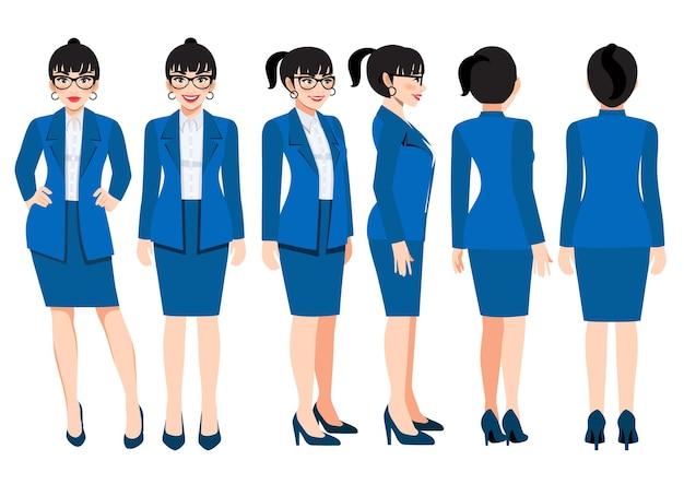 애니메이션을 위한 밝은 남색 정장을 입은 비즈니스 우먼이 있는 만화 캐릭터. 전면, 측면, 후면, 3-4 뷰 캐릭터. 평면 벡터 일러스트 레이 션