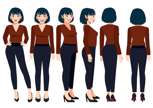 애니메이션을 위한 평상복을 입은 비즈니스 우먼이 있는 만화 캐릭터. 전면, 측면, 후면, 3-4 뷰 캐릭터. 평면 벡터 일러스트 레이 션