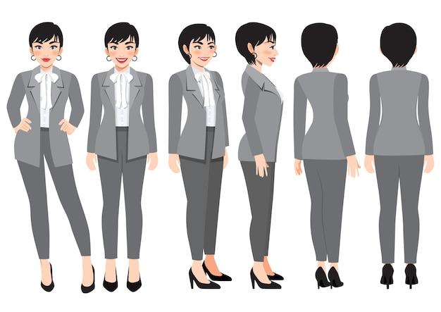애니메이션을 위한 회색 스마트 정장을 입은 비즈니스 우먼이 있는 만화 캐릭터. 전면, 측면, 후면, 3-4 뷰 캐릭터. 평면 벡터 일러스트 레이 션
