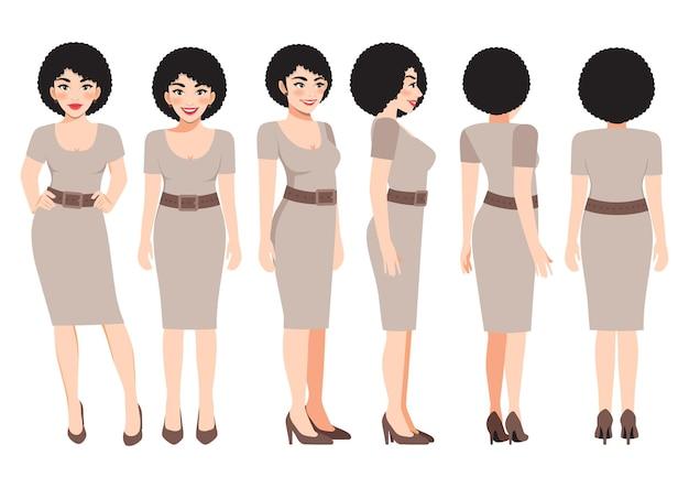 애니메이션을 위한 카키색 드레스를 입은 비즈니스 우먼이 있는 만화 캐릭터. 전면, 측면, 후면, 3-4 뷰 캐릭터. 평면 벡터 일러스트 레이 션
