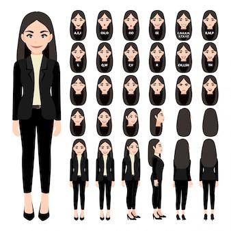 アニメのスーツのビジネスウーマンと漫画のキャラクター。正面、側面、背面、3-4ビューのキャラクター。体の別々の部分。