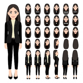 Cartoon character with business woman in suit for animation. front, side, back, 3-4 view character. separate parts of body.