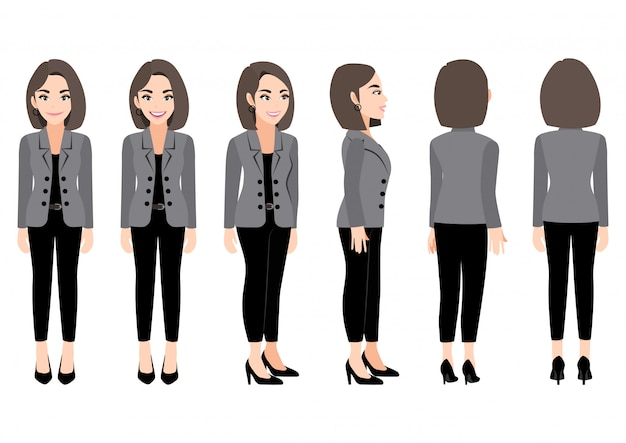 Cartoon character with business woman in suit for animation. front, side, back, 3-4 view character.