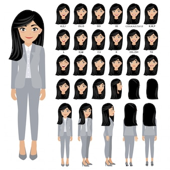 Cartoon character with business woman in suit for animation.