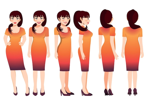 Cartoon character with business woman in sunset gradient color dress for animation. front, side, back, 3-4 view character. flat vector illustration