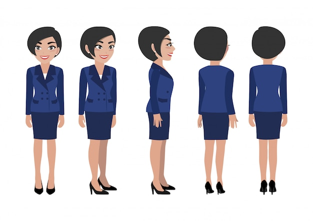 Cartoon character with business woman.