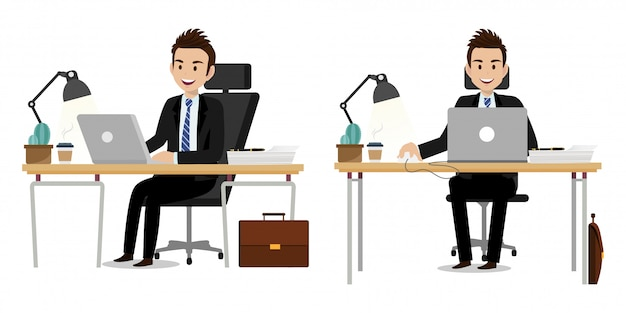 Cartoon character with businessman working character vector design.
