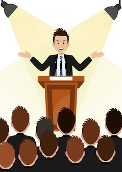 Cartoon character with businessman working and present to public area on podium character vector design.