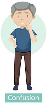Personaggio dei cartoni animati con sintomi di confusione