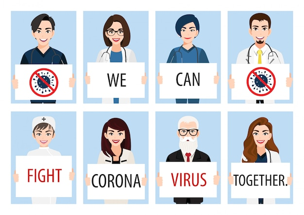 Cartoon character with doctors, nurses and medical staff holding poster requesting people avoid corona virus and covid-19 spreading by staying at home. corona virus disease awareness