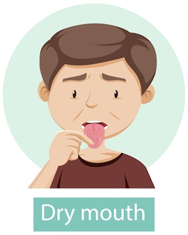 Cartoon character with dry mouth symptoms