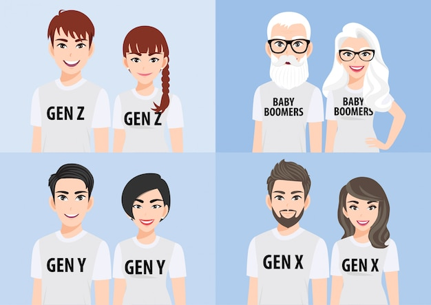 Cartoon character with generations concept