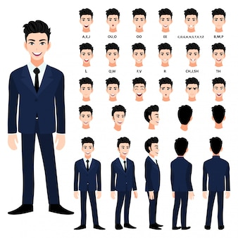 Cartoon character with handsome business man in suit for animation.