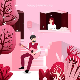 Cartoon character with a man sitting on front steps pink color home and a lady listening in vintage window.