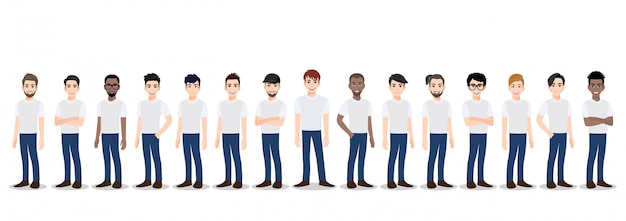 Cartoon character with the men team in t-shirt white and blue jean casual