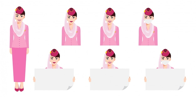 Cartoon character with muslim air hostess in pink uniform with smile , medical mask and holding poster template. set of  isolated illustrations