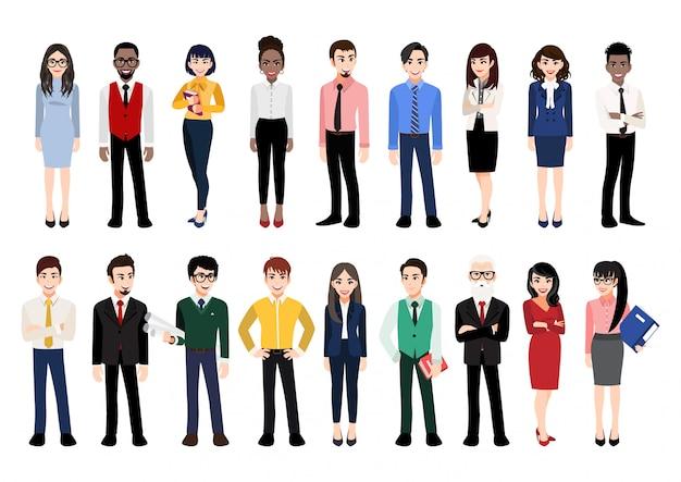 オフィスの人々のコレクションと漫画のキャラクター。さまざまな人種、年齢、体型の男性と女性に立っている多様な漫画のイラスト。白で隔離。