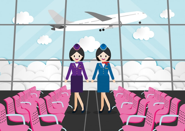 Cartoon character with passenger room in airport terminal and beautiful air hostess