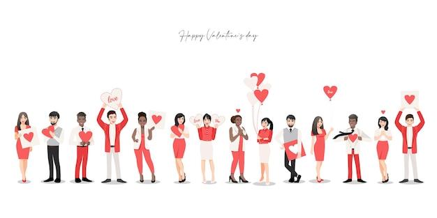 Мультипликационный персонаж с группой людей, держащей сердца. праздник дня святого валентина.