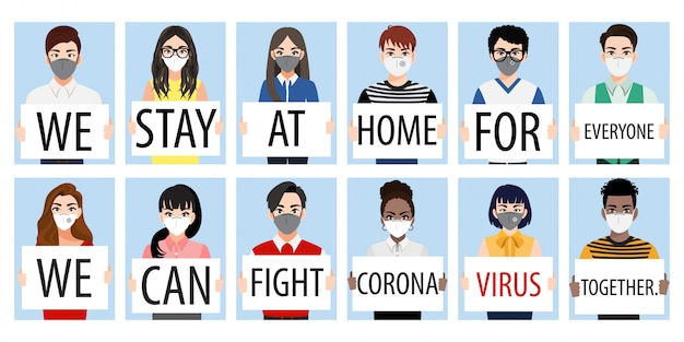 Cartoon character with people holding showing posters avoid coronavirus and covid-19 spreading by staying at home and fighting together. coronavirus disease awareness vector