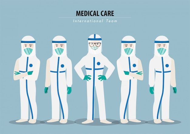 Cartoon character with professional doctors wearing protective suite and standing together to fight coronavirus