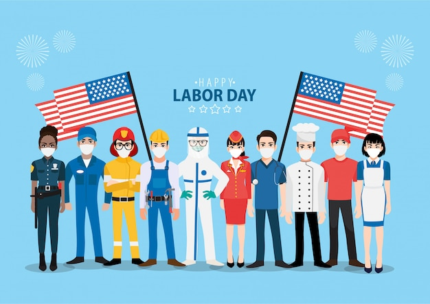 Cartoon character with professional worker in happy labor day festival