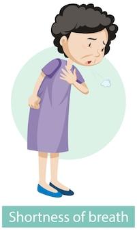 Мультипликационный персонаж с симптомами одышки