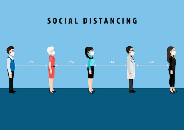 Cartoon character with social distancing.