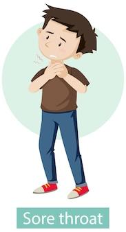 Cartoon character with sore throat symptoms