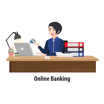 Cartoon character with woman paying a bill online on a laptop. bank clerk at the table issuing a credit card and bills and papers heap. flat icon   illustration