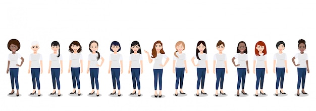 Cartoon character with the women team in t-shirt white and blue jean casual
