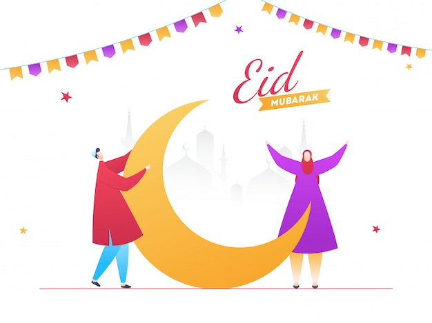 Cartoon character of young man and woman decorating the moon for eid party