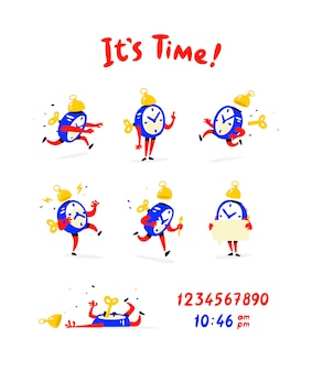 Cartoon characters of the alarm clock. vector.