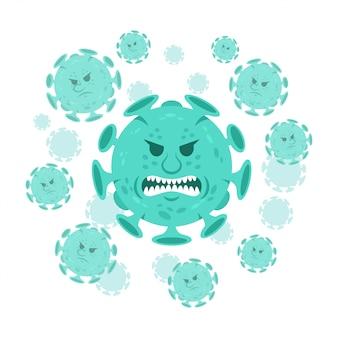 漫画のキャラクター怒っている絵文字コロナウイルス微生物covid-19。
