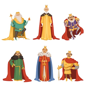 Cartoon characters of big king in different poses